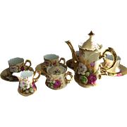 Lefton Coffee Set with Red and White Roses - Red Tag Sale Item