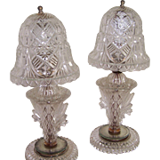 Pair of Very Old Glass Bedroom Lamps