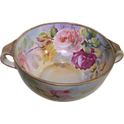 Lovely Nippon Bowl with Handles - Handpainted with Roses