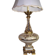 Brass & Glass Lamp with Marble Base