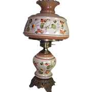 Quoizel Inc. 1973 Brass & Glass Handpainted Lamp