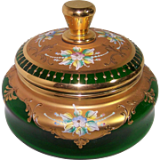Green Candy Container with Gold Trim and Enameled Flowers