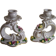 Dresden Candleholders with Raised Flowers