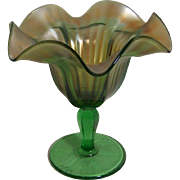Green and Brown Carnival Vase from Northwoods