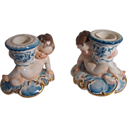 Pair of Dresden Cherub Candle Holders