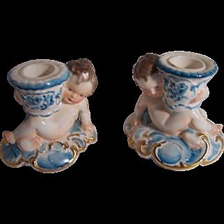 Pair of Dresden Cherub Candle Holders