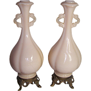 Pair of Alacite Glass Lamps with Bronze Feet