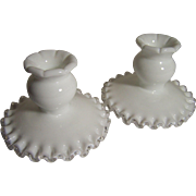 Pair of Fenton Silver Crest Candle Holders