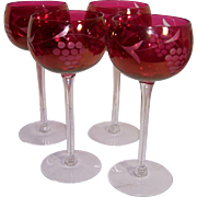 4 Clear and Ruby Red Crystal Wine Glasses