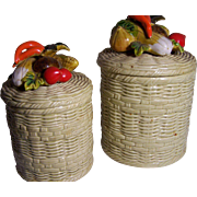 2 Lefton Canisters with Vegetable Knobs