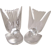 Lalique Swallows Bookends - Signed