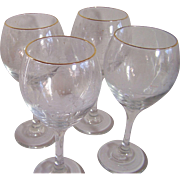 4 Crystal Wine Goblets with Cut and Enameled Trees Motif