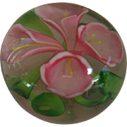 Beautiful Pink, Green & Clear Paperweight
