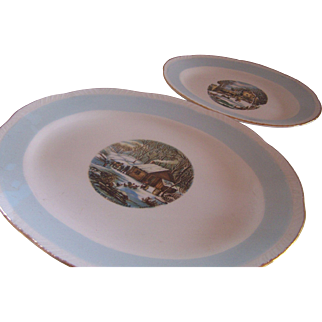 Pair of Homer Laughlin Blue Heaven Platters