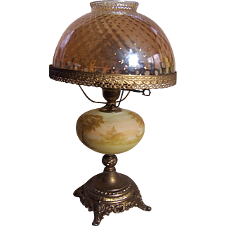 Electric Lamp with Brass Base, Glass Shade and Handpainted Glass Center