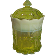 Moser Vaseline Glass (Opalescent) Cookie Jar