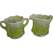 Moser Vaseline Glass Creamer and Sugar (Opalescent)