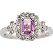 Art Deco Platinum 1.02ctw Genuine Pink Sapphire & G-VS1 Old Cut Diamond Ring