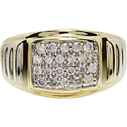 Vintage .75ctw H-SI2 Genuine Diamond 10k Gold Mens Ring Size 11~6g