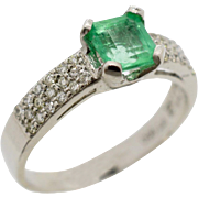 Vintage Estate Platinum 1.23ctw Muzo Emerald & G-VS2 Genuine Diamond Ring 5.1g
