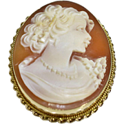 Antique Victorian 14k Yellow Gold Lady Shell Cameo Brooch Pin Pendant 6.1g