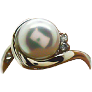Vintage 3.25ctw Pearl and (H) SI1 Diamond 14KT White Gold Ring 3.2g Size 7.5