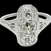 Art Deco 1.00ctw G-SI Genuine European Cut Diamond Platinum Engagement Ring Size6.5