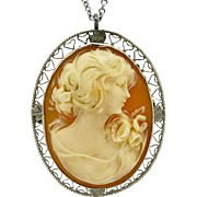 Beautiful Victorian Filigreed Cameo 10KT White Gold Brooch/Pendant 5.0g