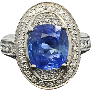 Burma Unheated Blue Sapphire Diamond Ring GIA