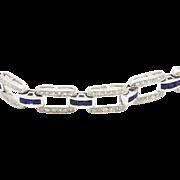 Platinum Diamond and Sapphire Link Braceletl