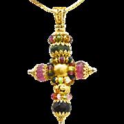 18 Karat Yellow Gold & Tourmaline Cross
