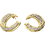 Diamond and 14 karat Yellow Gold Earrings