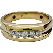 Gents 14 Karat Yellow Gold & 1/3ctw Diamond Ring