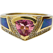 Tourmaline, Diamond, Black Opal 14 Karat Gold Ring