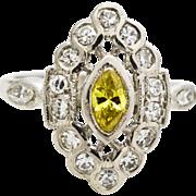 Canary Yellow Diamond Platinum Ring