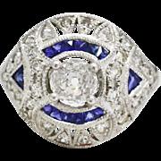 Platinum, Diamond, & Sapphire ring