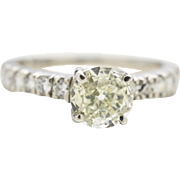Platinum and Diamond Engagement Ring 0.52ct Old European Rd center