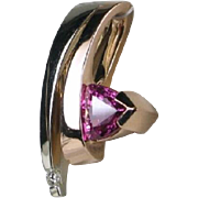 Heavy 14K Rose & White Gold 1.81ctw Pink Sapphire and Diamond Omega Pendant 10.4g