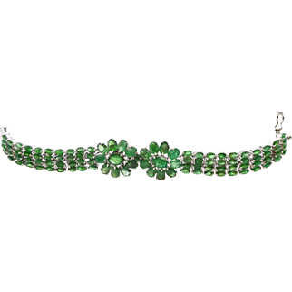 Emeralds 35.25cttw and Sterling Silver 7 inch bracelet 42.9 grams