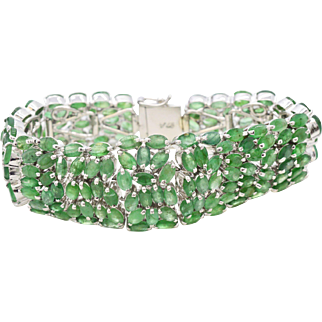 Emeralds 31.68 cttw and Sterling Silver 7 inch bracelet 51.9 grams