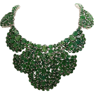 """Emeralds 105.88 cttw Sterling Silver 143.4 grams 19.5"""" Necklace"""