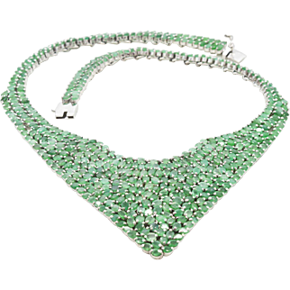 """Emeralds 75.06 cttw and Sterling Silver Necklace 17.5"""", 109.40 grams"""