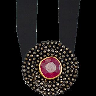 Victorian 6.90ctw Genuine Gem Ruby & Old Rose Diamond Dinner Ring 5.8g
