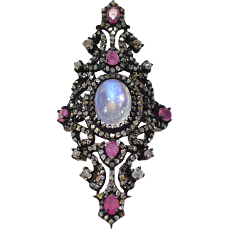 Victorian inspired Ring filled with a Large Genuine Moonstone, Natural Diamonds & Rubies in Sterling Silver antiqued!