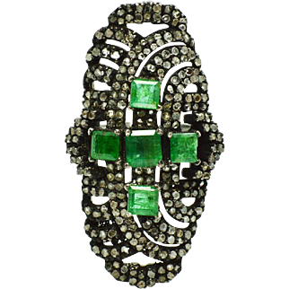 Emeralds, Diamonds, and Sterling Silver Ring weighing 10 grams