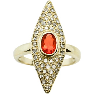 Fire Opal Faceted Oval Orange, Diamonds, 14K Yellow Gold Ring