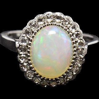 Opal, Diamonds, 14K White Gold Ring 3.3 grams