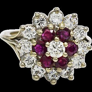 Diamonds, Rubies, 14K White Gold Ring 8.5 grams