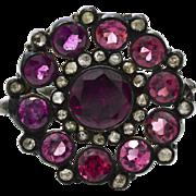 Rhodolite Garnets, Diamonds, Antique Black Sterling Silver Rings 5.9 grams