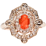 Vintage Designer 9k Rose Gold Genuine 1.00ct Mexican Fire Opal & Diamond Ring